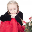 Cute girl with christmas tree — Stok fotoğraf