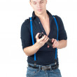 Handsome man in jeans and suspenders — Stock Photo