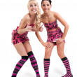 Happy girls in pink tape dress — Stock Photo