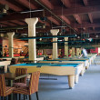 Billiard room with many tables — Stock Photo