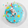 Blue birthday cake - top view — Foto Stock