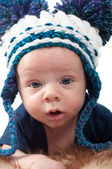 Little baby in knitted hat — Stock Photo