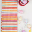 Striped napkin and easter eggs — Foto Stock