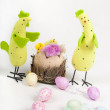 Easter chicken family with tulips and eggs — Foto Stock