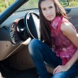 Beautiful brunette woman sitting in the car - Stock Photo