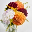 Bouquet of dahlias in vase — Stock Photo
