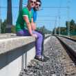 Stock Photo: Two men sitting on platform