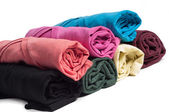 Rolls of multicolored clothes — Foto de Stock