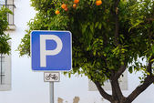 Bicycle parking sign — Stockfoto