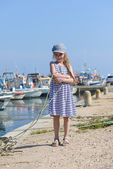 Adorable little girl at fisherman village — Stock Photo