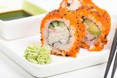 Maki sushi rolls on the plate — Zdjęcie stockowe