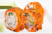 Sushi rolls with tobico — Stock Photo