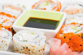 Soy sauce and sushi mix — Stock Photo