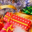 Christmas gift boxes and decorations — Stock Photo #14108123