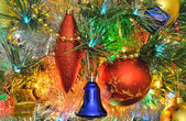 Christmas decorations on the Christmas tree — Stock Photo