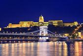 Danube river, Chain Bridge and Buda Castle — Stock Photo