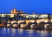 Vltava river, Charles Bridge and Prague Castle — Stock Photo
