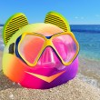 Ball, flip-flop and diving mask — Stock Photo