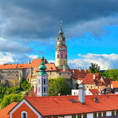 Gothic castle and Hradek tower in Cesky Krumlov — Stock Photo