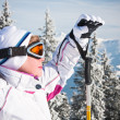 Alpine skier mountains in the background — Stock Photo #13151368