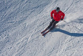 A man is skiing at a ski resort — Stock Photo