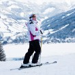 Stock Photo: Alpine skier mountains in background