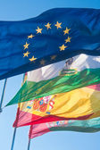 4 flags: the European Union, Andalucia, Spain, Granada, at the f — Stock Photo