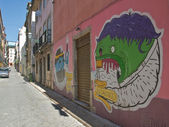 House painted graffiti. Lisbon, Portugal — Stock Photo