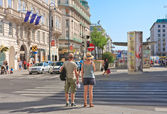 Tourists on the streets of Vienna. Austria — Stock Photo