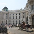 Horse-drawn carriage with tourists on the streets of Vienna. Hof — Stock Photo