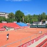 Tennis court. Resort Portschach am Worthersee . Austria — Stock Photo #42973077