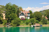 Resort Krumpendorf am Worthersee and Lake Worth . Austria — Stock Photo