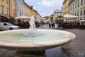 Fountain in the old square. Carinthia. Klagenfurt. Austria — Stock Photo