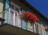 Apartments. Balcony with flowers. Resort Velden am Worthersee. A — Stock Photo