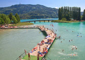 Beach on Lake Worth. Resort Portschach am Worthersee. Austria — Stock Photo