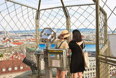 Tourists on the observation deck of the Cathedral of St. Stephen — Stock Photo