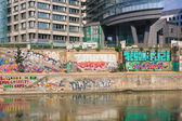 Graffiti. Danube Canal. Vienna. Austria — Stock Photo