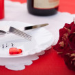 Romantic dinner. Setting for valentines day. - Stock Photo