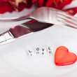 Romantic dinner. Setting for valentines day. — Stock Photo #18471739