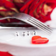 Stock Photo: Romantic dinner. Setting for valentines day.