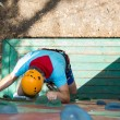 Stock Photo: Man on the climbing wall.