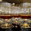 Glasses of brandy at the banquet - Stock Photo