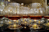 Glasses of brandy at the banquet — Stock Photo