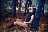 A young beautiful woman in the autumn forest — Stock Photo