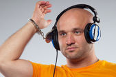 Man with earphones — Stock Photo