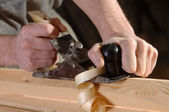 Joinery workshop with wood — Stock Photo