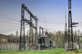 Electric wires at a power station — Stock Photo