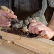 Joinery workshop with wood — Foto Stock