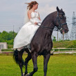 Fiancee in a wedding dress astride on a horse - Stock Photo
