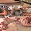 Stock Photo: Pork processing meat food industry